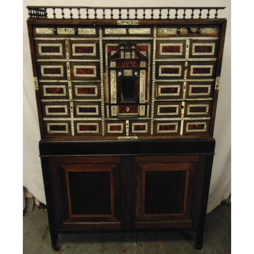 12 - A late 19th century rectangular collectors cabinet, with galleried top, bone and tortoiseshell inlay...