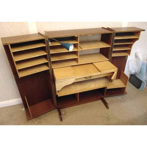 2 - Teak rectangular cabinet desk the hinged doors revealing fitted interior...