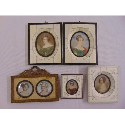 220 - A quantity of miniature portraits in bone frames some signed (5)...