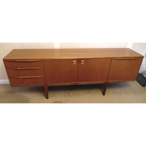 3 - McIntosh & Sons teak rectangular sideboard with drawers and cupboards on four tapering rectangular l...