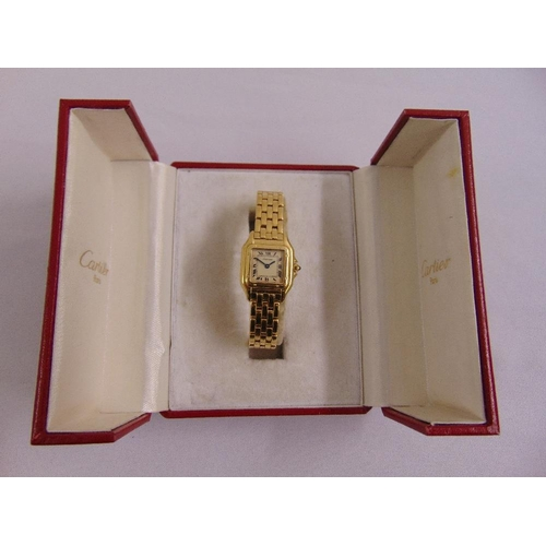 301 - Cartier Panthere 18ct yellow gold wristwatch, to include original presentation case...