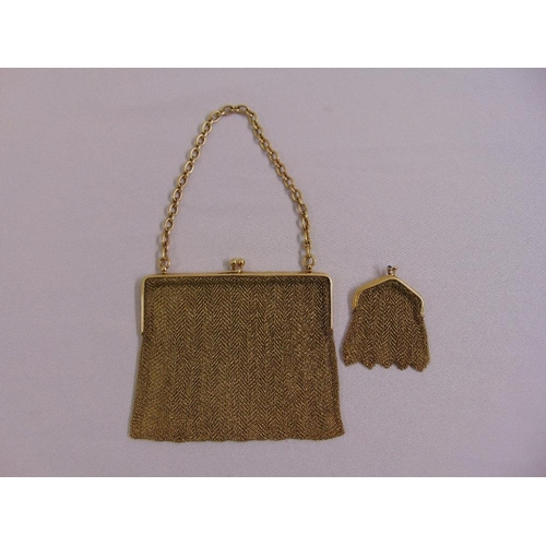 343 - Yellow gold mesh ladies handbag and matching coin purse stamped 585, approx total weight 271.0g...