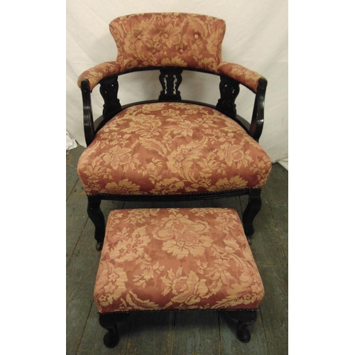 37 - An Edwardian upholstered occasional chair with matching foot stool...