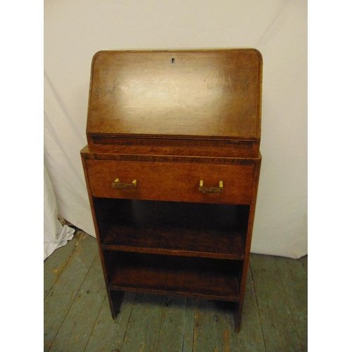 4 - An Art Deco burr maple rectangular bureau with hinged desk pad opening to reveal fitted interior...