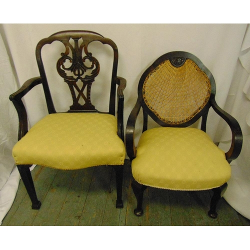 42 - Two upholstered mahogany occasional chairs...