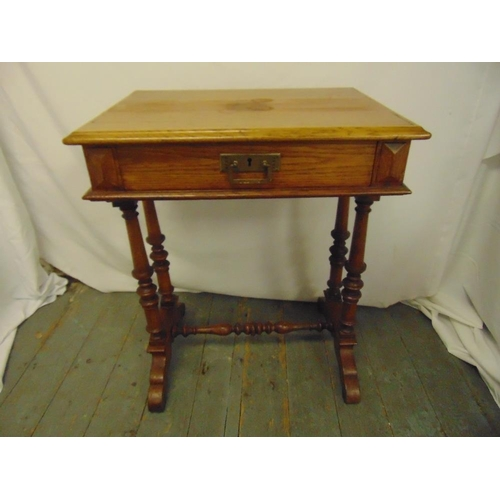 5 - A Victorian oak rectangular side table, single drawer with brass handle on four turned supports and ...