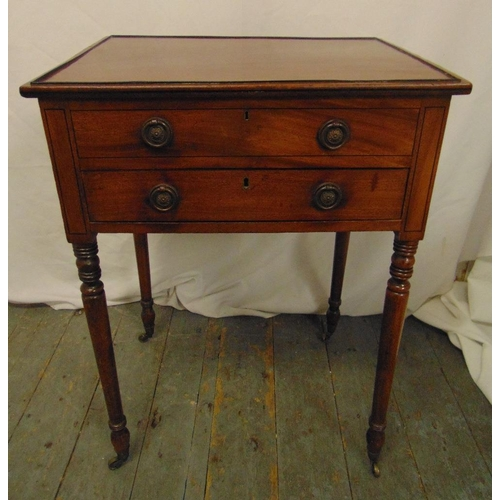 6 - A 19th century mahogany rectangular side table with hinged cover and sliding drawer on four turned c...