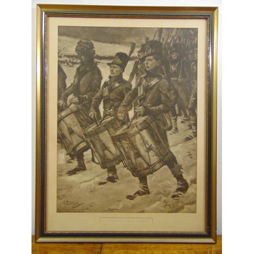 60 - A framed and glazed monochromatic etching of Russian soldiers marching with drummers in the foregrou...