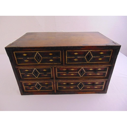 12 - Indo-Portuguese rectangular cabinet, the six drawers inset with bone decoration...