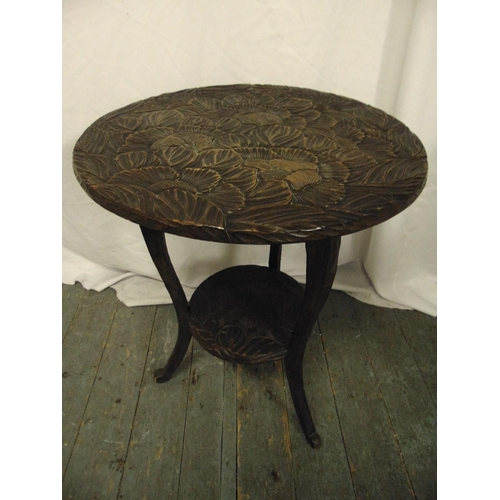 17 - An oriental circular side table on three outswept legs...