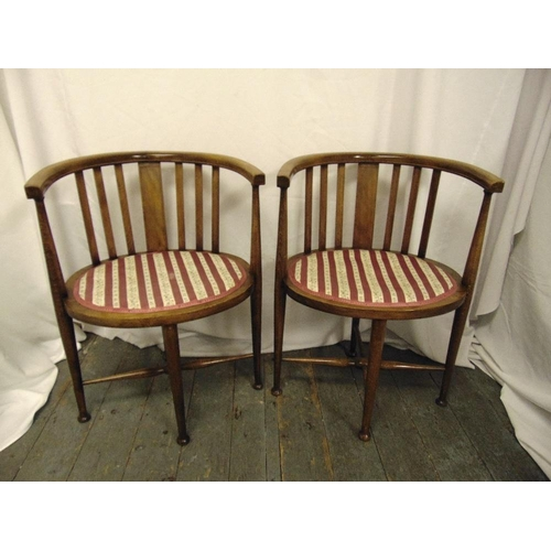 23 - A pair of Edwardian oval inlaid mahogany occasional chairs on tapering cylindrical legs...