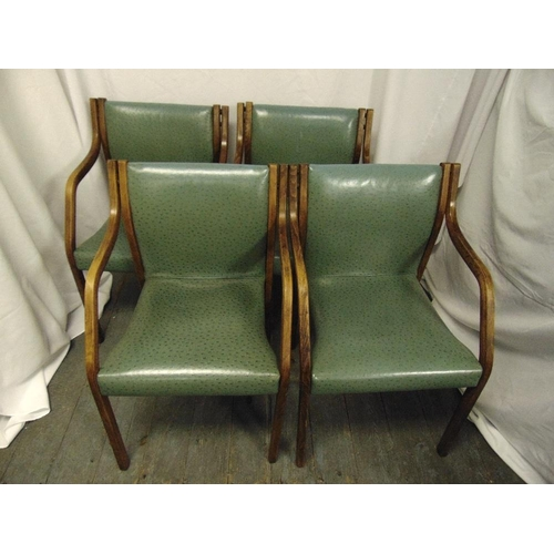 27 - A set of four Bentwood leather upholstered chairs circa 1960...