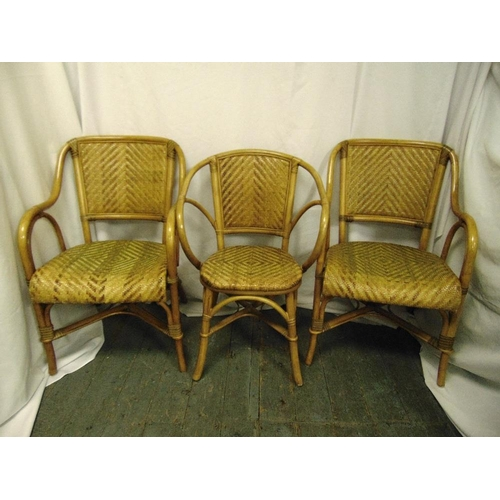 28 - A pair of Bentwood chairs with rattan seats and another...