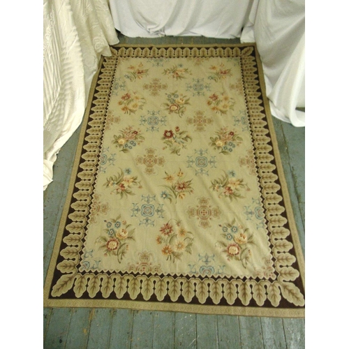42 - A rectangular hand stitched needlepoint carpet decorated with flowers and leaves, 276 x 176cm...