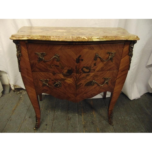 5 - Louis XVI style shaped rectangular chest of drawers with marble top, gilded metal mounts and handles...