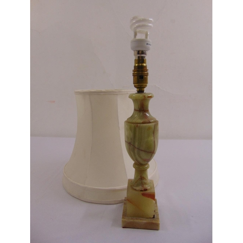 51 - A vase form onyx table lamp with silk shade...