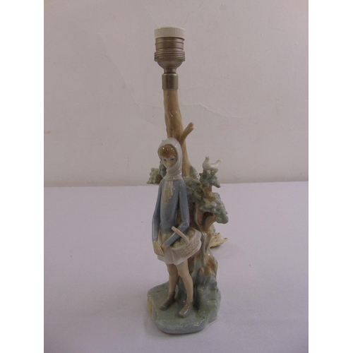54 - A Lladro table lamp figural group on naturalistic base...