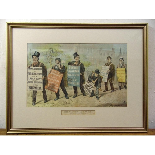 57 - Tom Merry two framed and glazed political polychromatic cartoons, The Comic Campaign 29.5 x 46.5cm a...