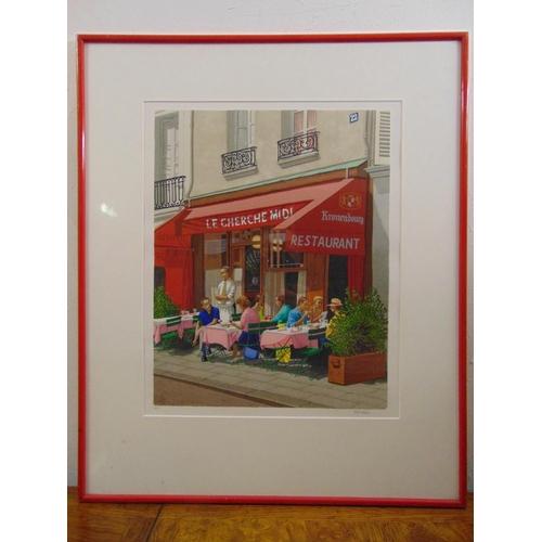 58 - Ulf Greder framed and glazed polychromatic screen-print titled Cherche Midi, signed bottom right, la...