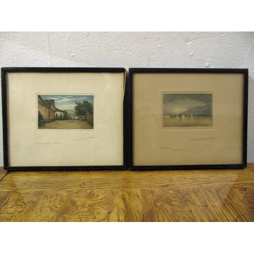 59 - Claude Rowbottom two framed and glazed polychromatic etchings of a mill and a harbour, each 5.5 x 8c...