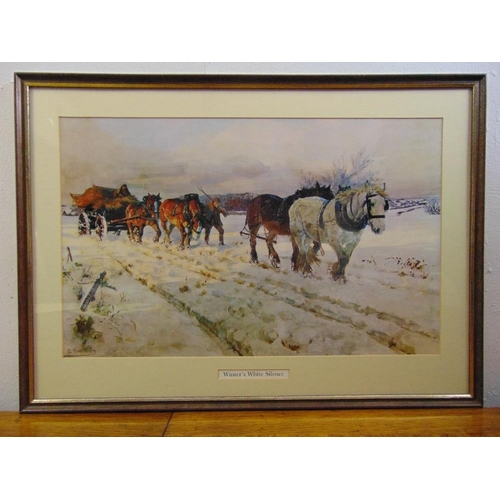 60 - Lucy Kemp-Welch framed and glazed polychromatic lithographic print titled Winters White Silence, 34 ...
