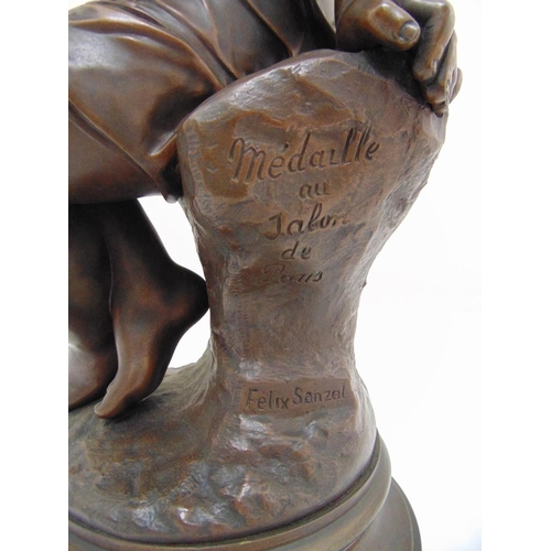 175 - Felix Sanzel bronze of a young girl on raised circular base, signed to the side, 51.5cm (h)...