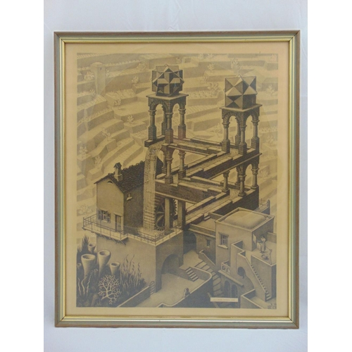 35 - M. S. Escher framed and glazed monochromatic etching titled Waterfall, 51 x 40cm...