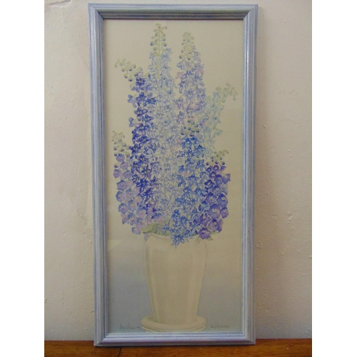 41 - Susie Brown framed and glazed watercolour still life of delphiniums, signed bottom right, 72 x 31cm...