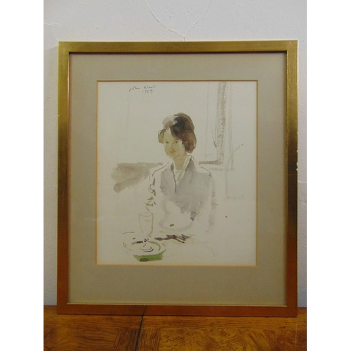 42 - John Stanton Ward 1917-2007 framed and glazed watercolour of a lady seated at a table, signed and da...