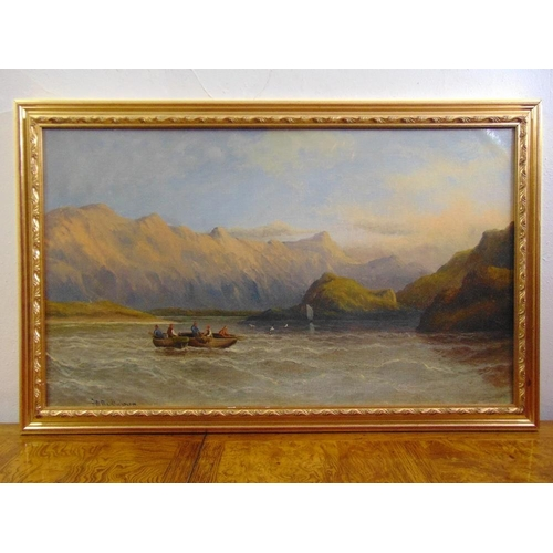 45 - F.W. Bartholomew framed oil on canvas of boats on a loch, signed bottom left, 46 x 76cm...