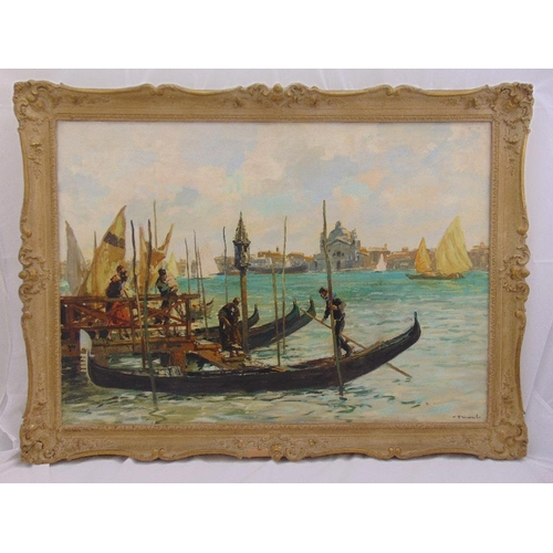 46 - A framed oil on canvas of gondolas on the Grand Canal Venice, indistinctly signed bottom right, 70.5...