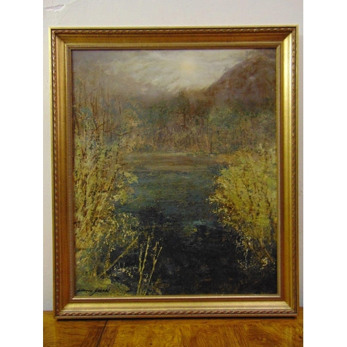 49 - Juan Gimeno Guerri framed oil on canvas of trees by a lake, signed bottom left, 65 x 54cm...