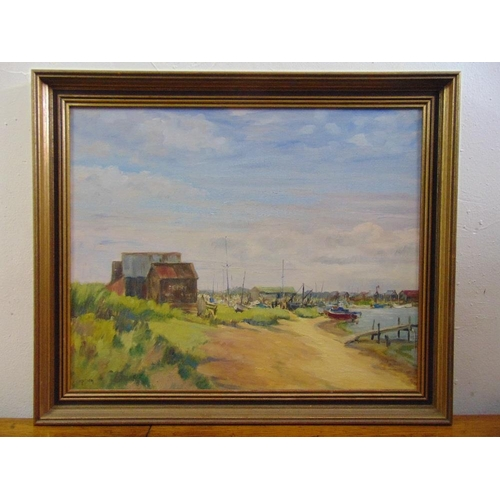 54 - Mary Dixon framed oil on panel of Walberswick Ferry, signed bottom left, 44.5 x 51cm...