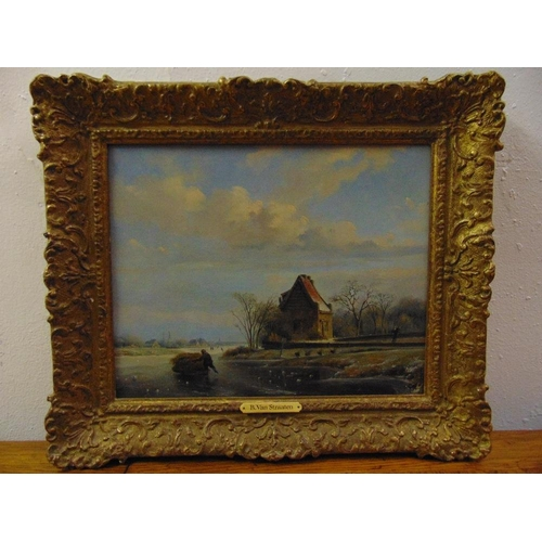 58 - Bruno van Straaten 1786-1870 framed oil on canvas of a Dutch winter scene with a figure pushing a sl...