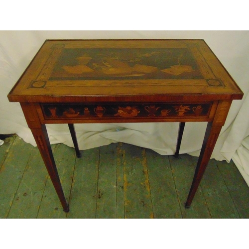 13 - A rectangular mahogany inlaid side table with single drawer on four tapering rectangular legs, 68 x ...