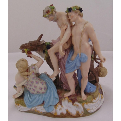 159 - Meissen figural group of The Drunken Silenus supported by Bacchus slumped on a donkey with a maiden ...