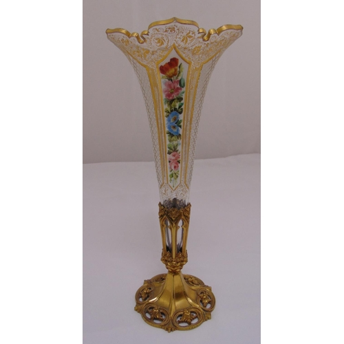 185 - A Bohemian glass vase hand painted floral sprays and gilding on pierced shaped circular gilded metal...