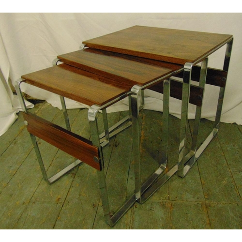 19 - A chrome and wooden nest of three rectangular tables circa 1970, 50 x 50 x 38cm...
