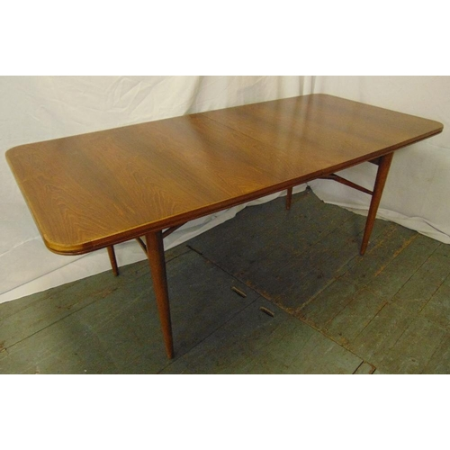 2 - Archie Shine rectangular dining table designed by Robert Heritage with two drop in leaves on four ta...