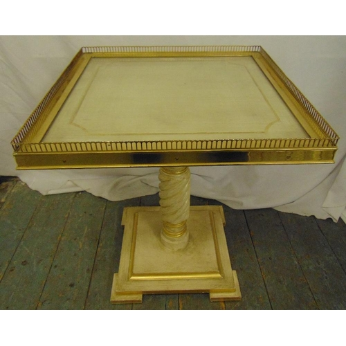 20 - A rectangular gilt metal and painted wooden side table with pierced gallery on raised square base, 5...