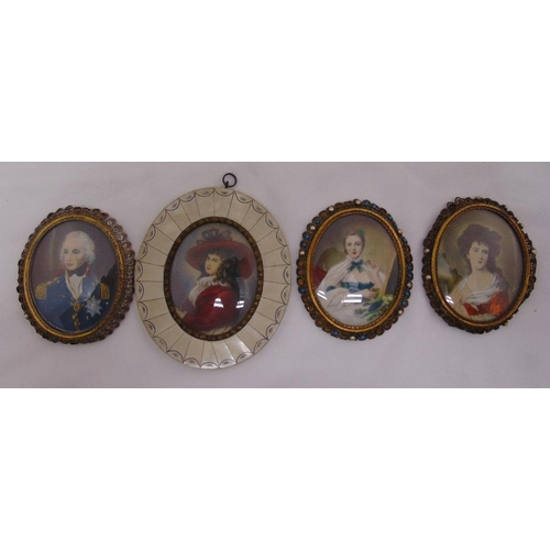 222 - Four miniature portraits of Lord Nelson and three glamorous women (4)...