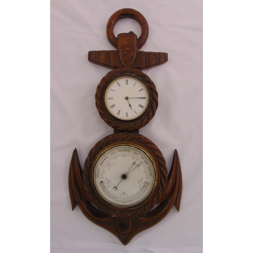 291 - A Victorian hand carved rope and anchor framed wall clock and Barometer, 53cm (h)...