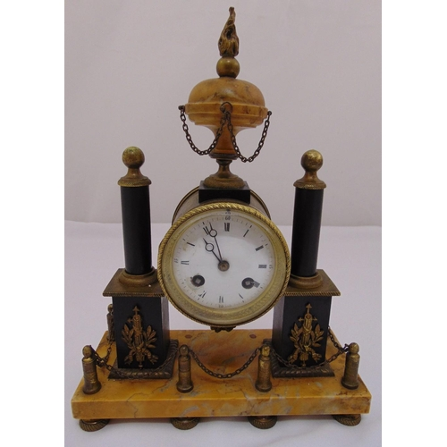 292 - Louis XVI mantle clock, white enamel dial, Roman numerals, flanked by two columns on rectangular Sie...