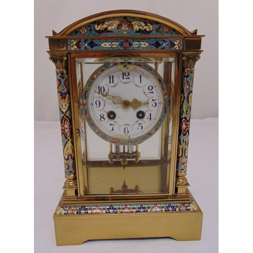 293 - A French champlevé, brass and four glass mantle clock, white enamel dial, Arabic numerals, to includ...