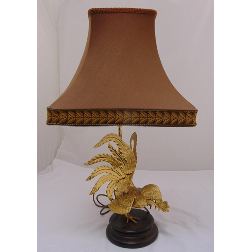 37 - A gilded metal table lamp in the form of a cockerel on circular wooden base, to include shade, 72cm ...