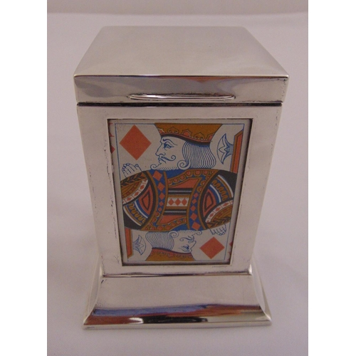 375 - Silver rectangular playing card holder, hinged cover cedar wood lined, on raised square base, Birmin...