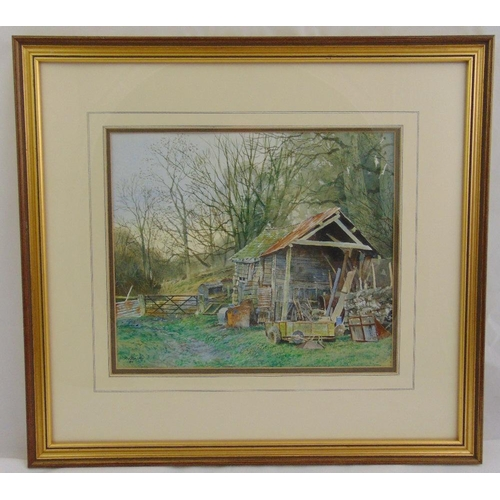 56 - Richard Bolton framed and glazed watercolour of a farmyard barn, signed bottom left, 24 x 28.5cm...