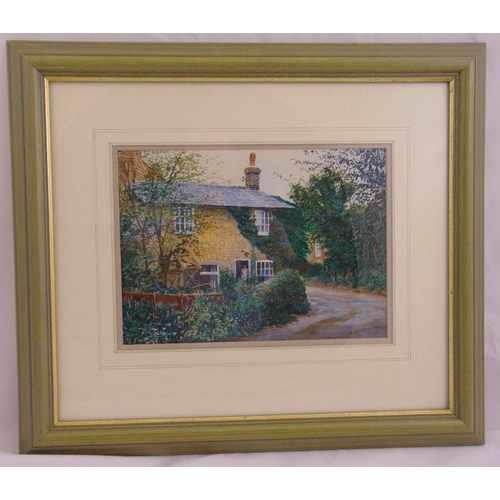 57 - Richard Bolton framed and glazed watercolour of a cottage, signed bottom right, 19.5 x 27cm...