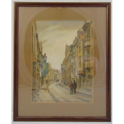 58 - Wilfred R Wood framed and glazed watercolour of houses in a road, signed bottom right, 29 x 21cm...