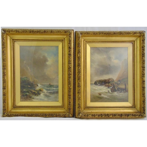 60 - A pair of framed and glazed oils on panel seascapes, indistinctly signed, 35 x 25.5cm...